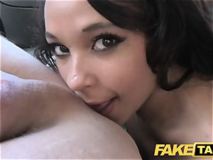 faux taxi black-haired deepthroats ravages and takes it in the donk