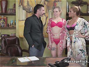 yam-sized boob masseuses handling porno mustache s shaft