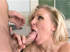 Julia Ann is a hardcore mummy who wants to put her cunny on a rigid chisel