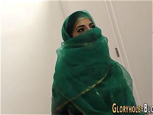 Arab super-bitch gargling big black cock