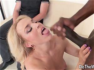 super-hot ash-blonde wifey thick ebony knob