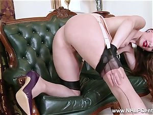 babe disrobes to nylons high-heeled shoes to plaything her vagina