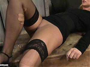 Kathia Nobili spanking a super-hot stunner in public wc