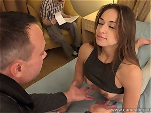 Sara Luvv Cuckolds Her hubby and Makes him suck fuckpole