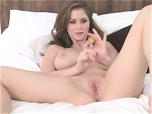 Alluring Emily Addison tantalizes her edible moist clunge