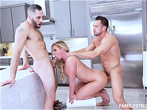 Phoenix Marie gets a warm three way at the dinner table