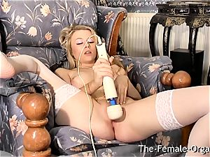 Femorg blond in stockings Bates moist fuckbox to climax