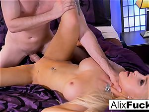 Alix Lynx drains Brad's weenie with her twat and jaws